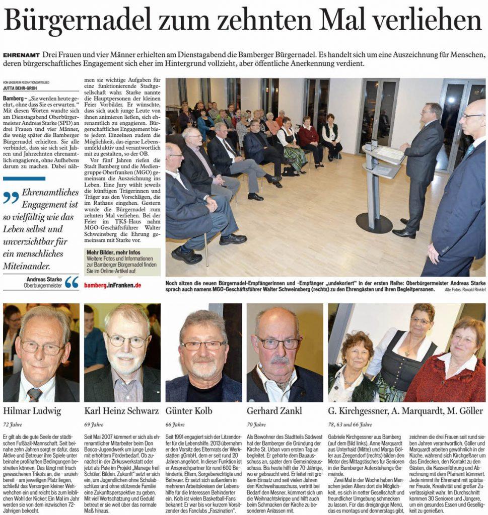 1. Vorsitzender Günter Kolb erhält die Bamberger Bürgernadel