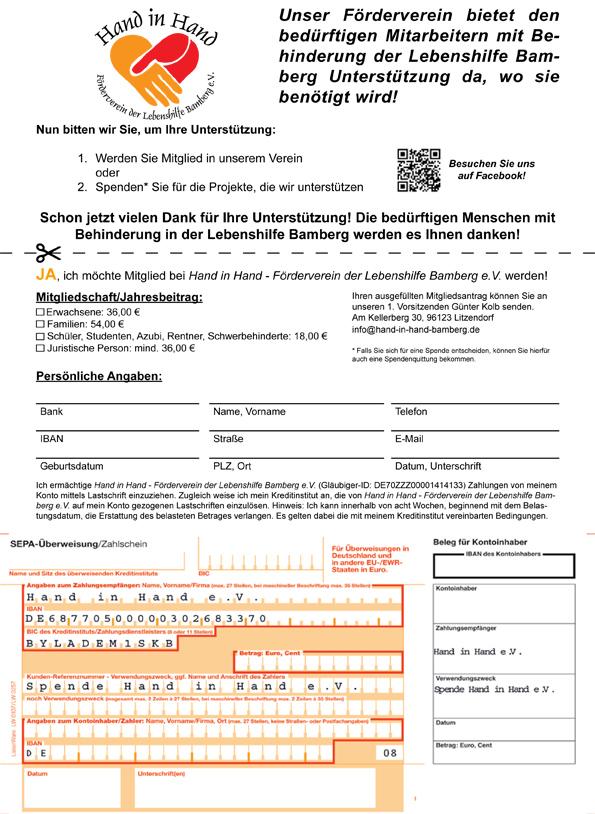 Mitgliedsantrag & Spendenvordruck Hand in Hand - Förderverein der Lebenshilfe Bamberg e.V.